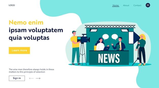 ニュースフラットイラストを作るテレビスタジオの人々