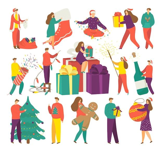 겨울 휴가에 사람들, 선물 삽화의 크리스마스 시즌을 설정합니다. 남자, 여자 및 아이들은 크리스마스 선물을 보유합니다. 선물 상자에 웃는 행복 한 여자. 조명과 선물.