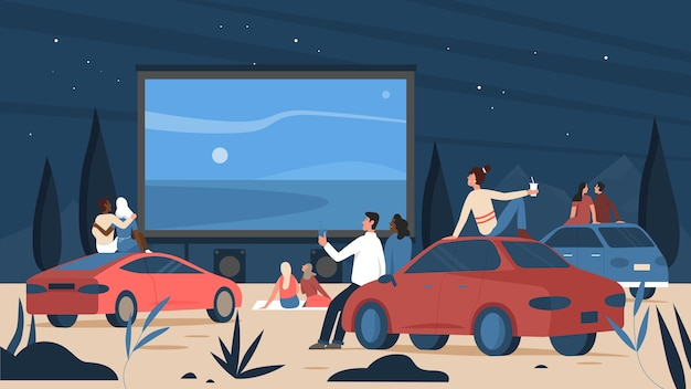 People in open air car cinema theater