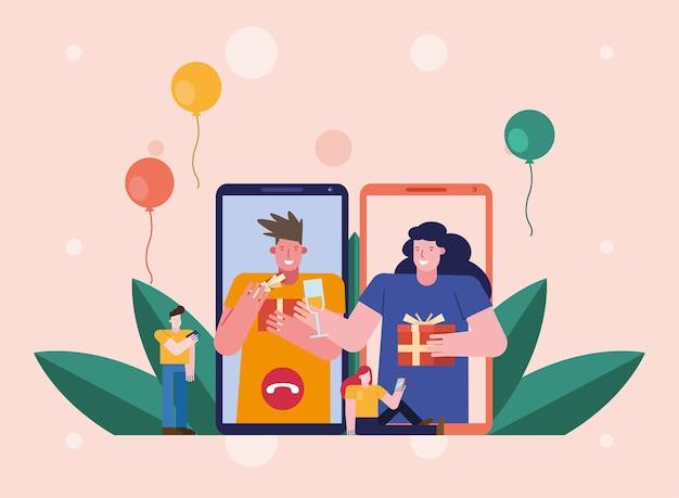 Люди открывают подарки в смартфонах персонажей сцены дизайн векторной иллюстрации