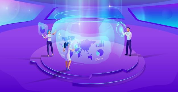 人々は未来的なオフィスのインテリア紫外線イラストで仮想インターフェイスを操作します