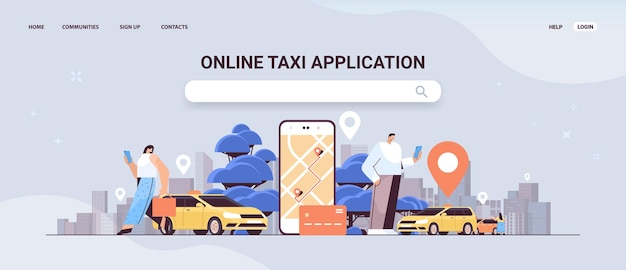 People ordering automobile with location mark in mobile app online taxi app transportation service