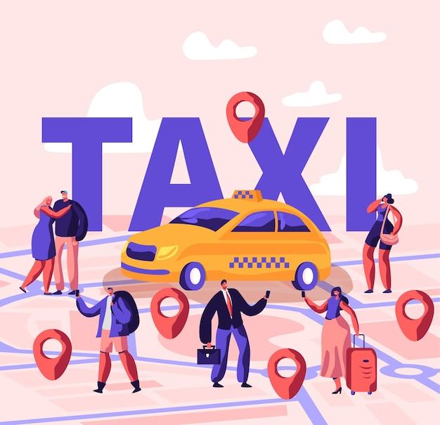 アプリケーションを使用してタクシーを注文し、ストリートコンセプトをキャッチする人々。漫画フラットイラスト