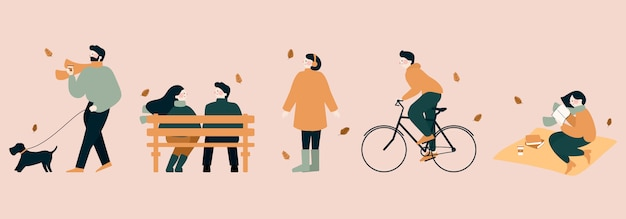 People outdoor activities in autumn flat  illustration. walking the dog, casual men and women in forest in fall, playing with autumn leaves, riding bicycle, spend time in the park and read book