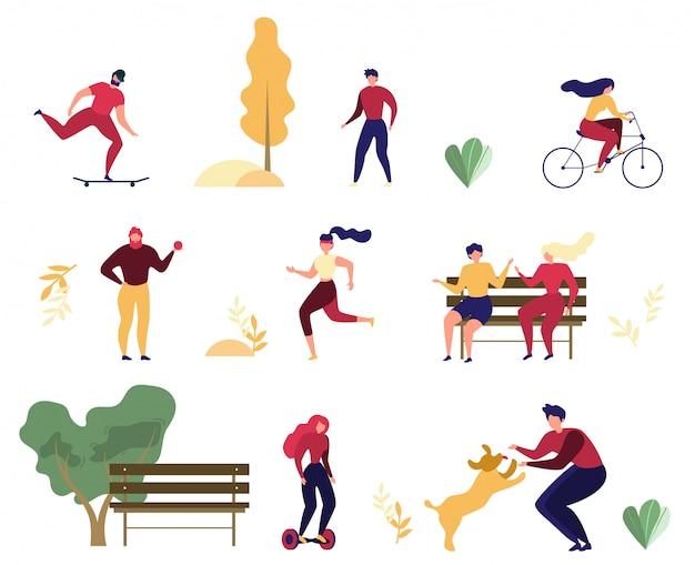 People outdoor activities in park flat vector set