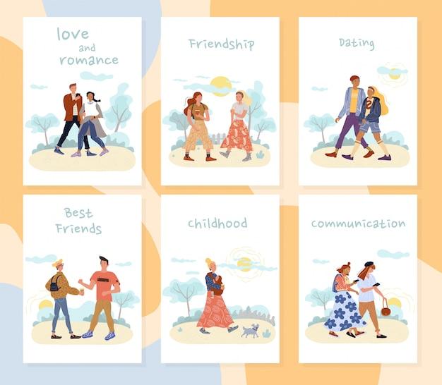 People outdoor activities recreation cards set