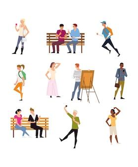 사람들은 야외 활동, 걷기, 달리기, 그림 그리기 등을 포함합니다.