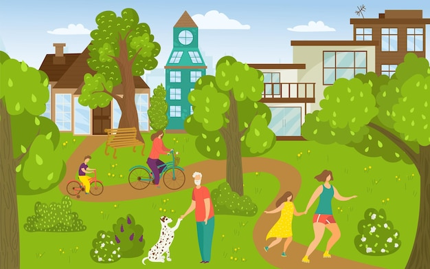 People outdoor at park, vector illustration. city nature with happy man woman people character, flat mother daughter walk together. girl ride bicycle with kid, flat old person activity with dog.