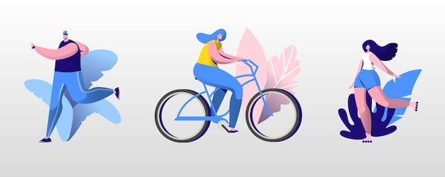 Люди открытый спортивный набор. бег мужчин и женщин, езда на велосипеде и роликовых коньках в летнее время. спорт на открытом воздухе, здоровый образ жизни, бег трусцой и езда на велосипеде, упражнения мультяшный плоский векторные иллюстрации