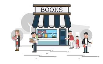 People outside a bookstore vector