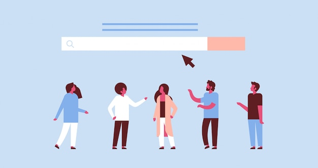 Люди над поиском онлайн интернет просмотр веб-сайта концепция www бар графический плоский горизонтальный
