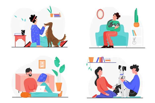 People owner love and care own pets illustration set.