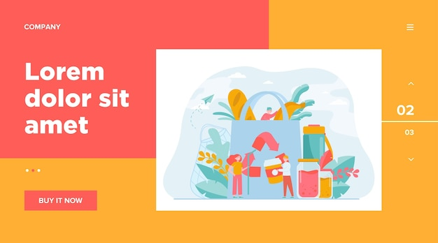 유기농 식품을 에코 백에 포장하고 재활용을 위해 플라스틱 폐기물을 분류하는 사람들. 친환경 쇼핑, 지속 가능한 개발, 환경 보호 개념에 대한 벡터 일러스트 레이션