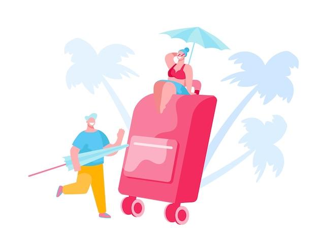 夏の休暇旅行のためのスーツケースを詰める人々