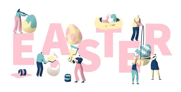 사람들은 다채로운 부활절 달걀 타이포그래피 포스터를 그립니다.
