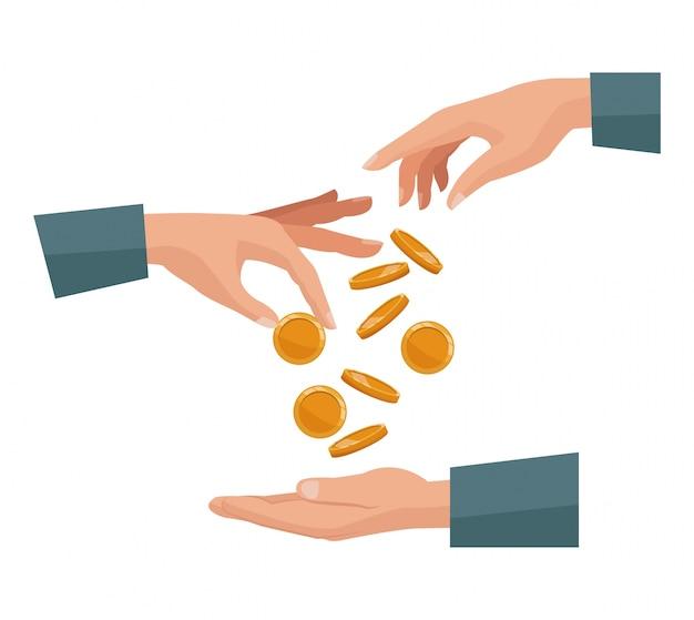 사람들이 손바닥 인간에 동전을 입금 손을 쌍