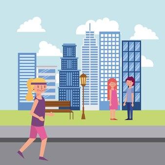 사람들이 공원과 도시