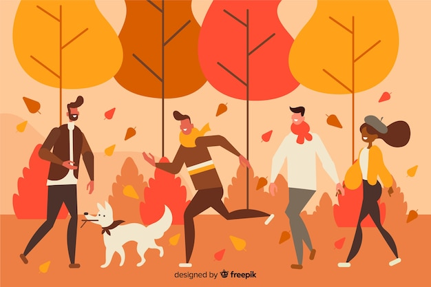 People in the park in autumn