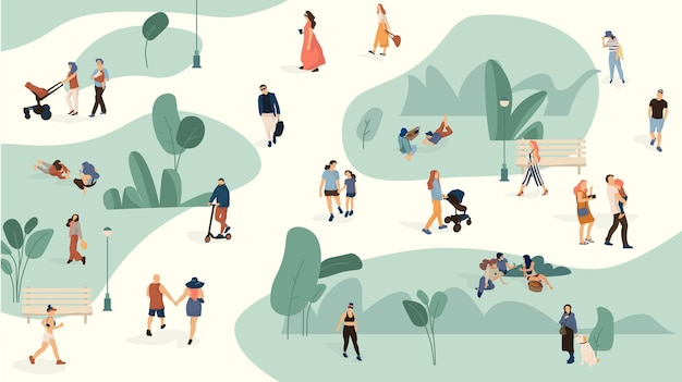 People in park illustration