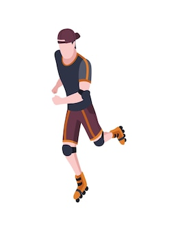 People in park isometric. man an rollerblading. active living recreation activities. spending free time usefully. vector character isolated on white.