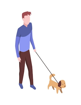 People in park isometric. man walking with dog. active living recreation activities