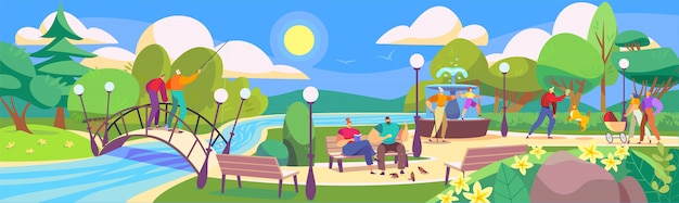 People in park, leisure with family in nature, cartoon characters illustration