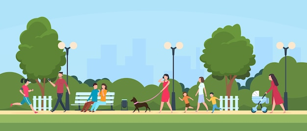 People in park. persons leisure and sport activities outdoor. cartoon family and kids characters in summer active park  illustration
