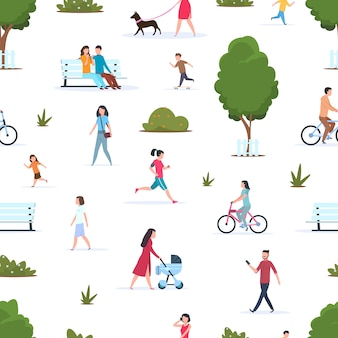 People in park seamless pattern. active persons walking running in nature. cartoon family and kids in spring park