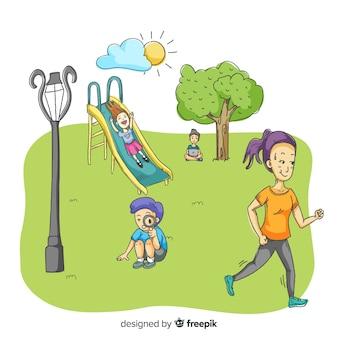 People in the park with children Free Vector