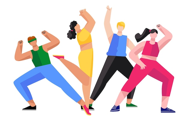 People participating in a fitness dance class