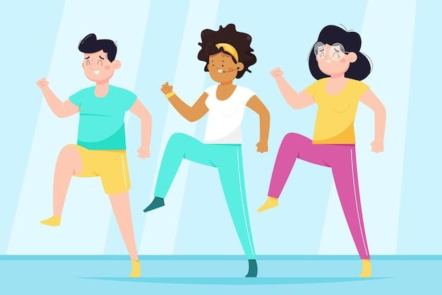 댄스 피트니스 수업에 참여하는 사람들 무료 벡터