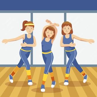 피트니스 댄스 수업에 참여하는 사람들