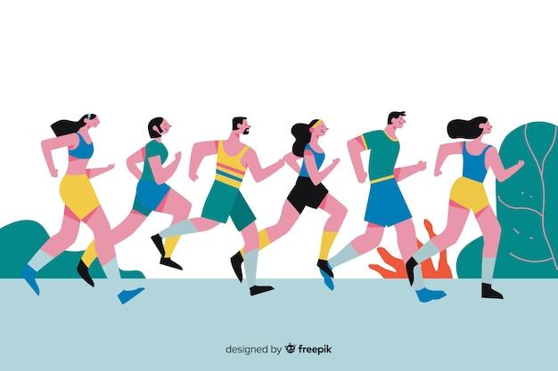 Люди, участвующие в марафонской гонке