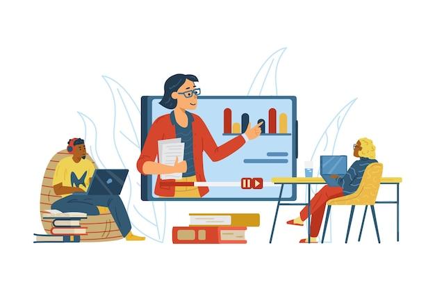 オンライントレーニングまたはウェビナーフラットベクターイラストに参加している人々