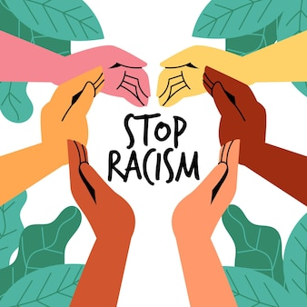 People participating in the stop racism movement illustrated