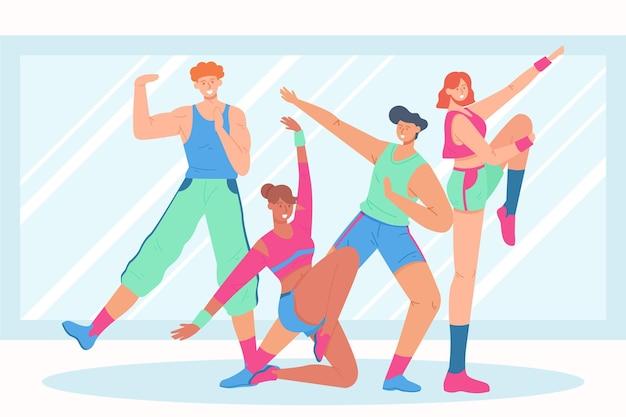 피트니스 댄스 수업에 함께 참여하는 사람들