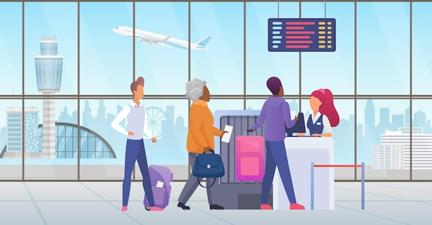 국제 공항에서 승객 승객은 여행 전에 줄을 서서 체크인합니다.