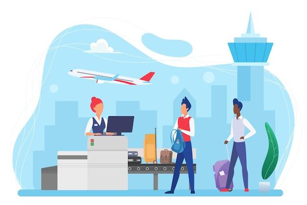 수하물 검사에 대한 공항 통제의 사람 승객 및 수하물 컨베이어 벨트 기계
