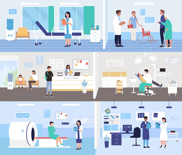 People patients and doctors in hospital interior