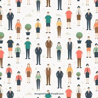 People pattern in flat style