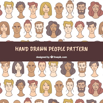 People pattern in hand drawn style