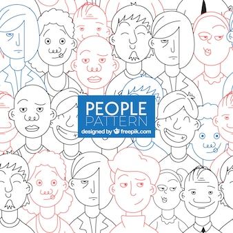 People pattern with faces