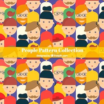 People pattern with hand drawn style