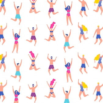 People pattern with swimsuit