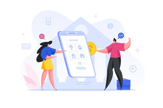사람들은 스마트 폰의 온라인 애플리케이션을 통해 공과금을 지불합니다. 개념 그림입니다. 여성 캐릭터는 고객에게 지불 방법을 설명하고 남성은 계좌에 돈을 입금합니다.