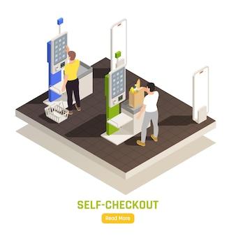 슈퍼마켓 아이소 메트릭 그림에서 터치 스크린 디스플레이로 셀프 체크 아웃에서 지불하는 사람들