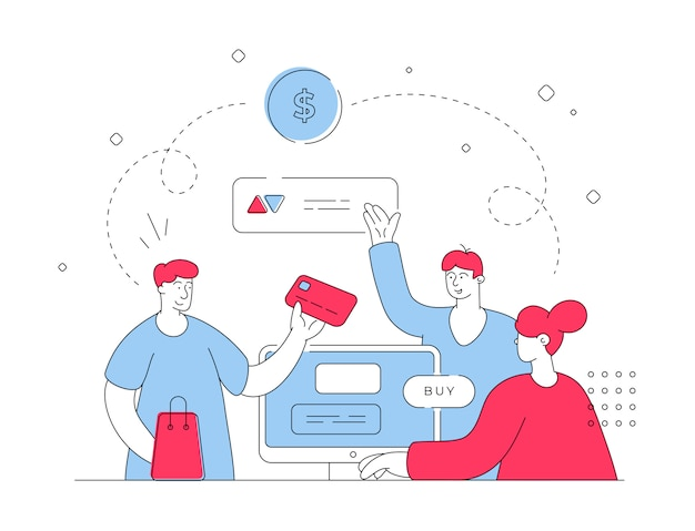 People paying for goods and leaving review online. flat line   illustration