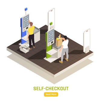 People paying at self checkout with touch screen display at supermarket isometric illustration