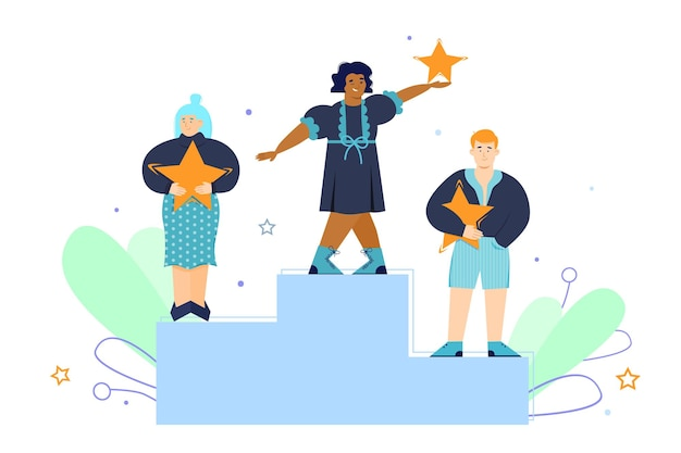 People on pedestal with rating stars in hands flat illustration