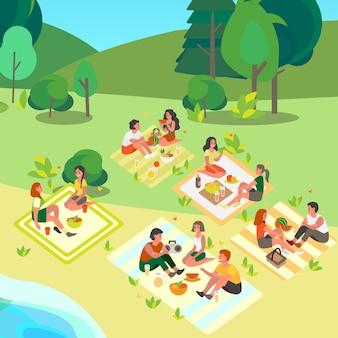人々はピクニックで屋外の時間を過ごします。公共の公園で友達と夏のキャンプ。観光と旅行のアイデア、スイカの季節。